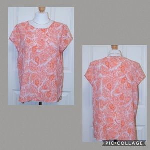 THE LIMITED Orange Pink & White Short Sleeve Top